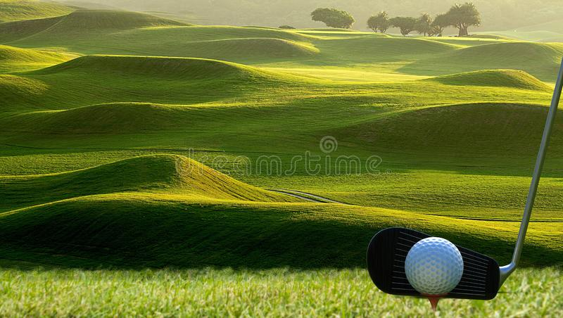 Collection of golf equipment resting with nice golf place royalty free stock photography