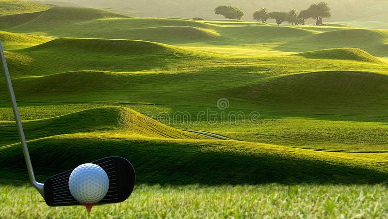 Collection of golf equipment resting with nice golf place royalty free stock images