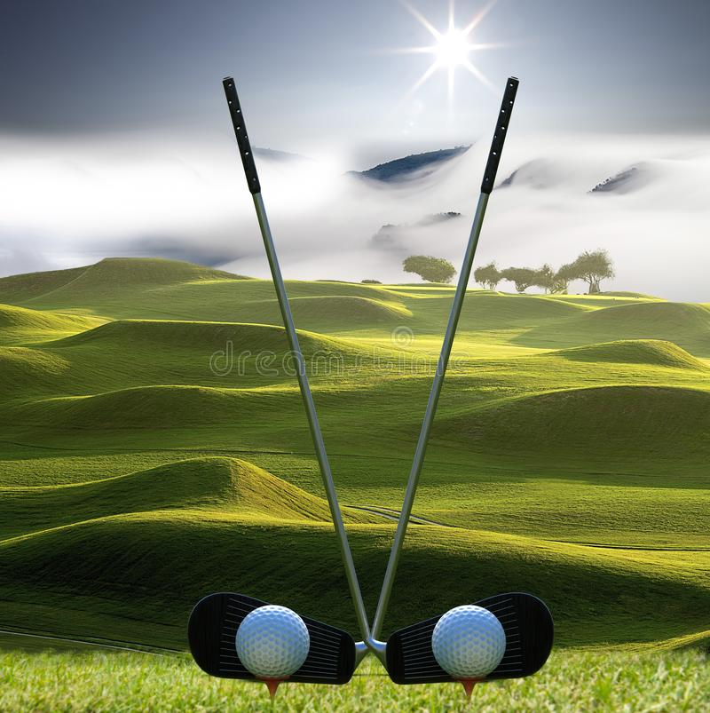 Collection of golf equipment resting with nice golf place stock image