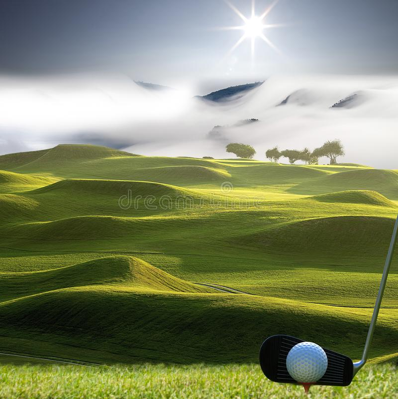 Collection of golf equipment resting with nice golf place royalty free stock photo