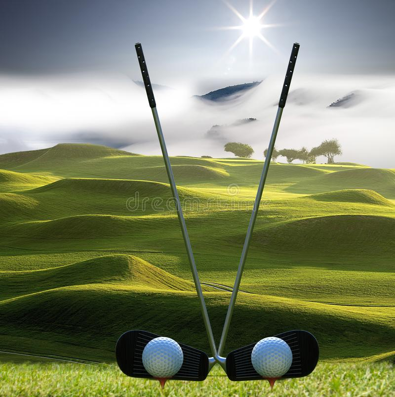 Collection of golf equipment resting with nice golf place stock photos