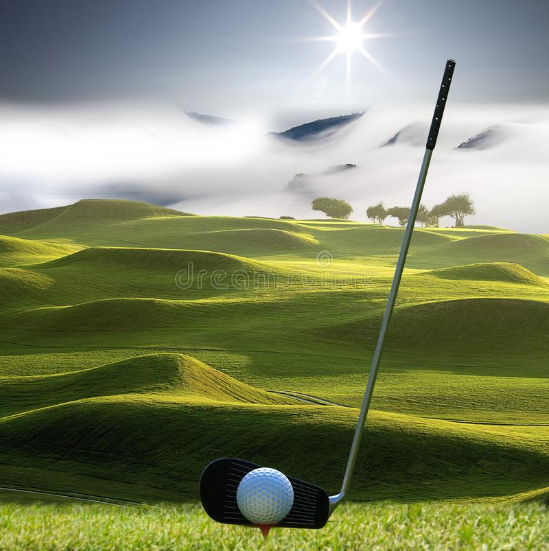 Collection of golf equipment resting with nice golf place stock photography