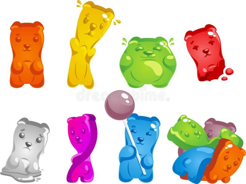 Collection gommeuse de bande dessinée d'ours illustration stock
