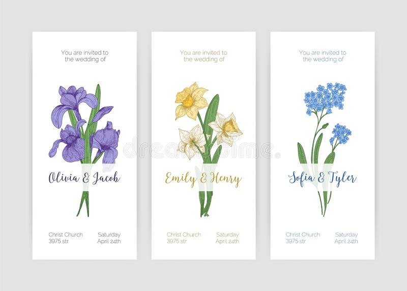 Collection of gorgeous vertical wedding invitation templates with spring garden blooming flowers and place for text on vector illustration
