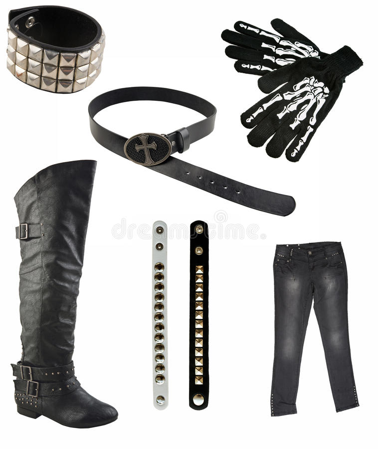 Collection of gothic clothes stock image
