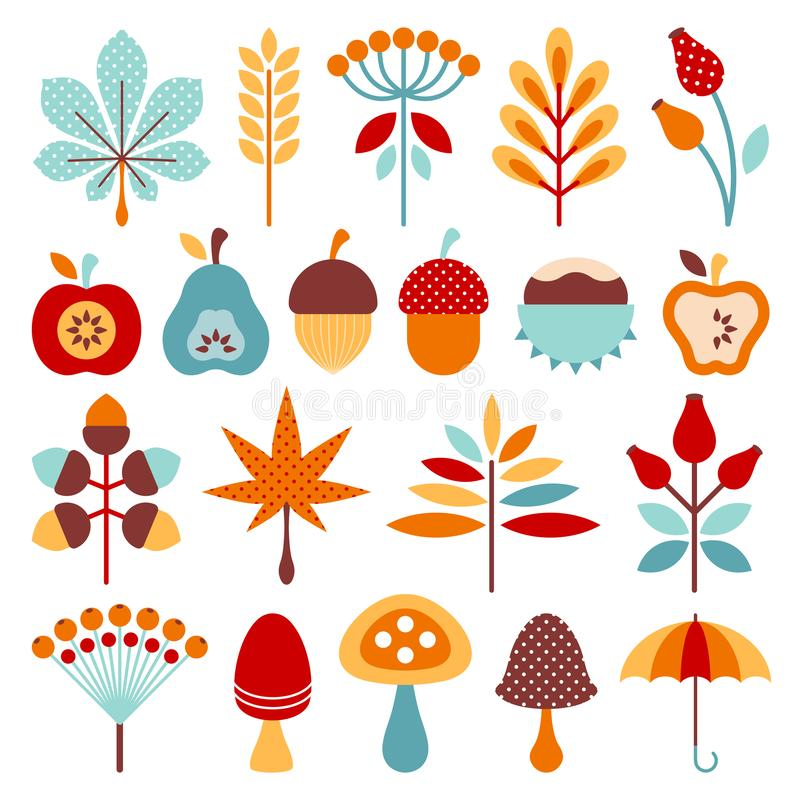 Set Graphic Autumn Icons Brown Orange Blue royalty free illustration