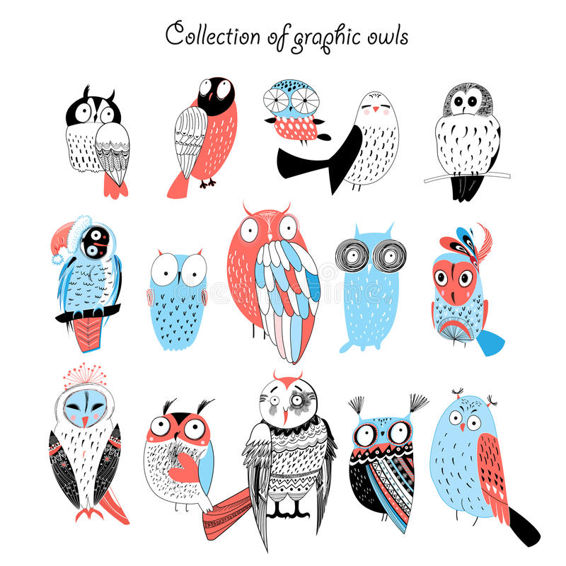 Collection of graphic owls royalty free illustration