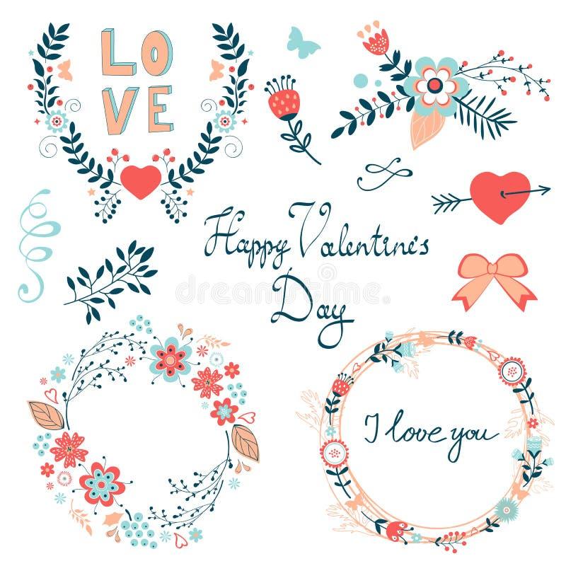 Collection graphique élégante heureuse d'éléments de jour de valentines illustration de vecteur