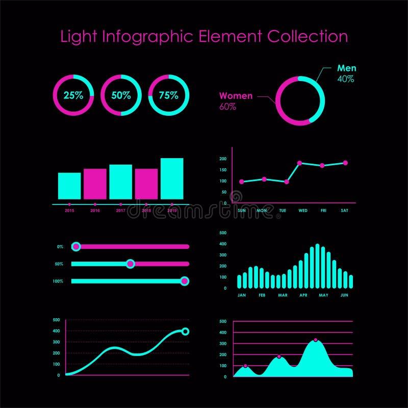 Collection graphique d'élément de l'information légère illustration libre de droits