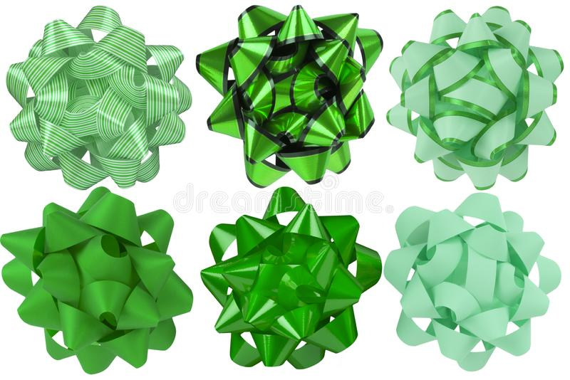Collection of green bow ribbon. Six different styles. stock photography