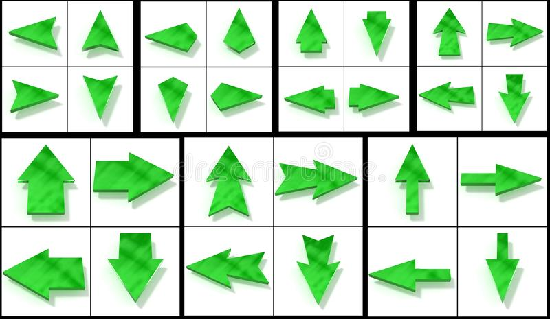 Collection green cursors stock photo