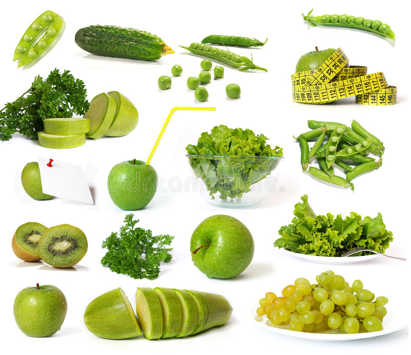 Collection of green fruits and vegetables stock photos