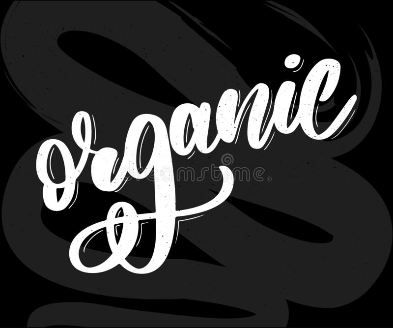 Collection of Green Healthy Organic Natural Eco Bio Food Products lettering calligraphy vector illustration