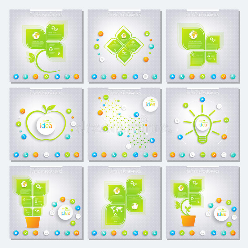 Collection green infographic . Can be used for royalty free illustration