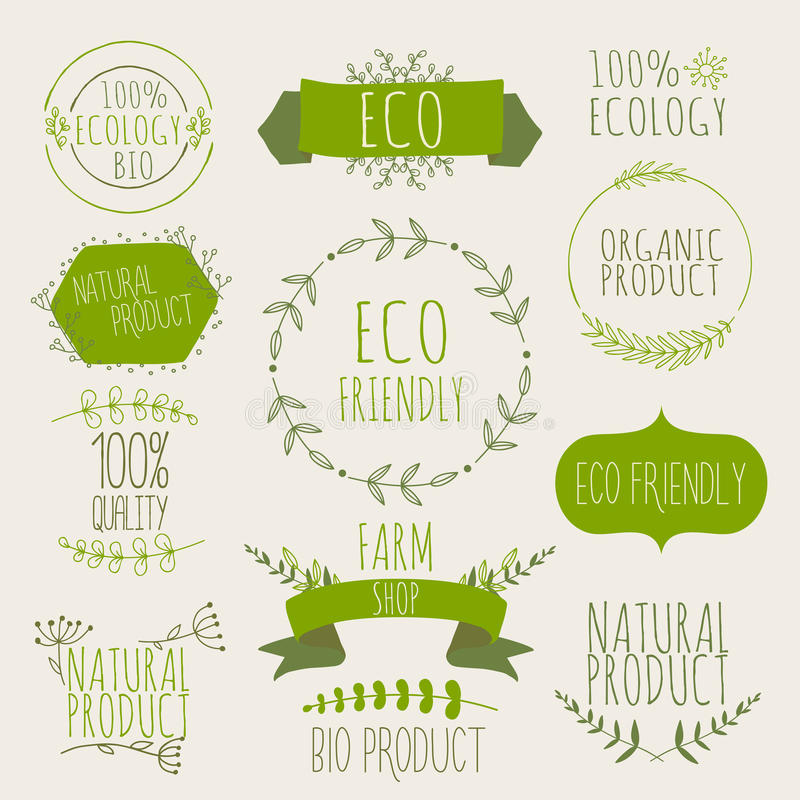 Collection of green labels and badges for organic, natural, bio stock image