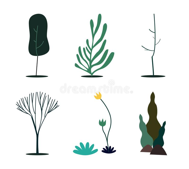 Collection of green nature concept illustration royalty free illustration