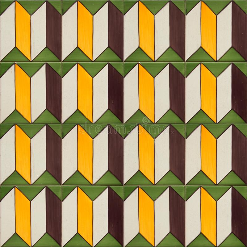 Collection of green patterns tiles. Photograph of traditional portuguese tiles in green, yellow and brown stock images