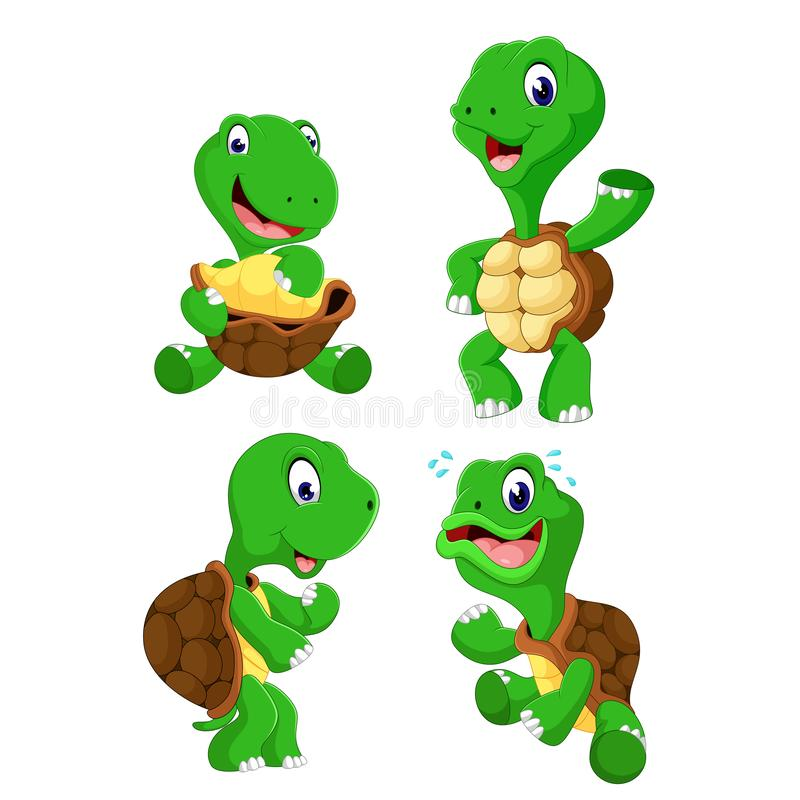 The collection of the green tortoise with different posing. Illustration of the collection of the green tortoise with different posing royalty free illustration