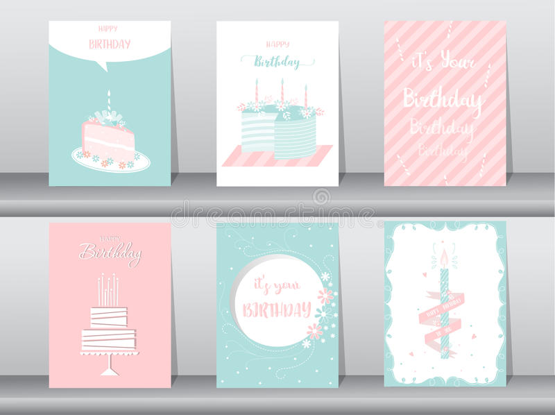 Collection of greeting or birthday card, cake, illustrations stock illustration