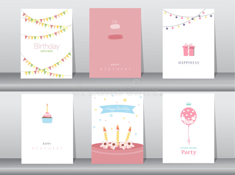 Collection of greeting and invitation card,birthday, illustration vector illustration