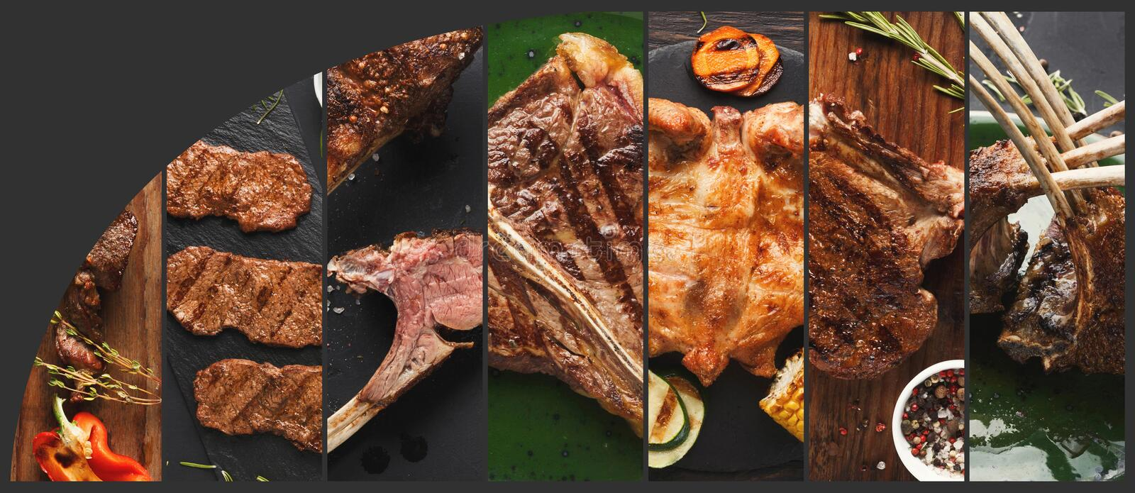 Collection of grilled meat meals, menu composition royalty free stock photos