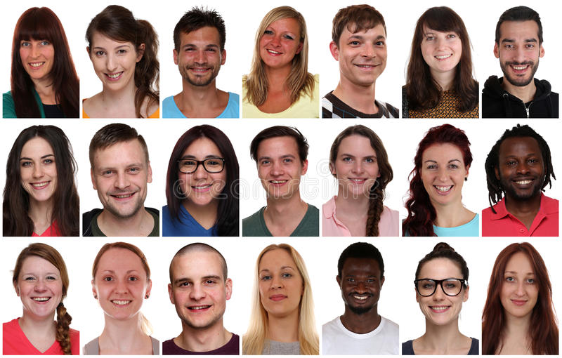 Collection group portrait of multiracial young smiling people royalty free stock photo