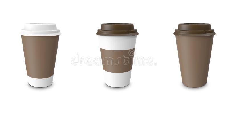 Collection, groupe, ensemble, café à emporter avec le support de tasse D'isolement sur un fond blanc illustration de vecteur