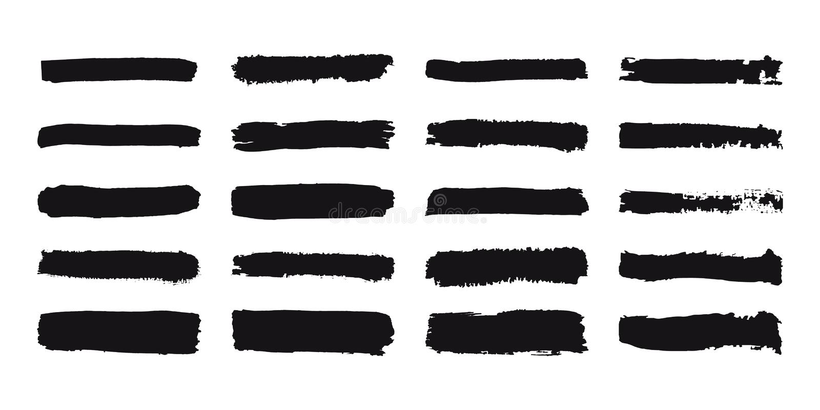 Collection of grunge brush strokes. Painted stripes set. Black ink hand drawn texture. Lines isolated on white background stock illustration