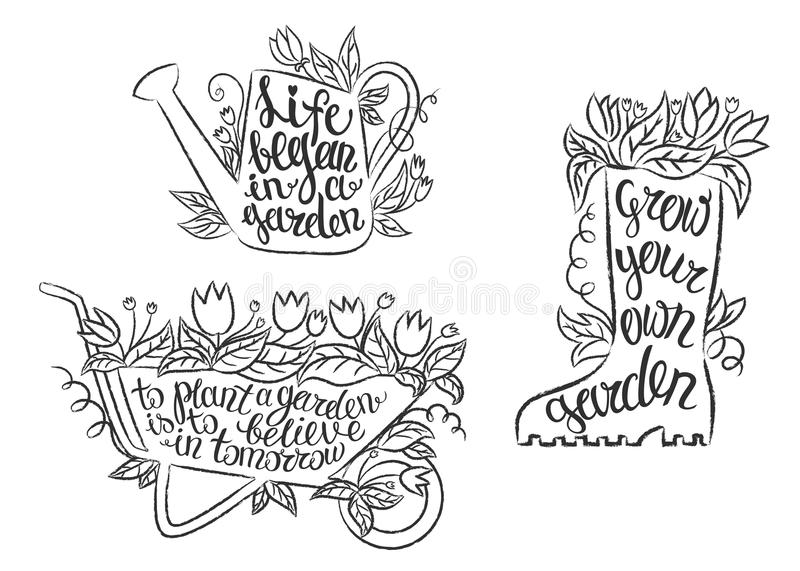 Collection of grunge contour gardening placards with inspirational quotes. Set of gardening placards with motivational frases. stock illustration