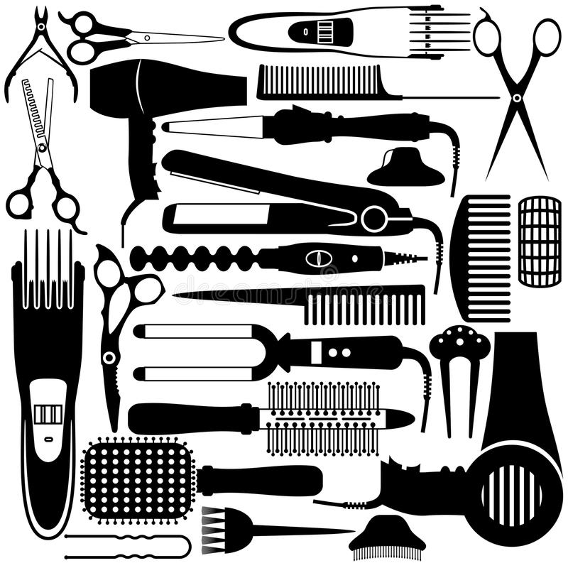 Hairdressing related symbol. Vector set of accessories royalty free illustration