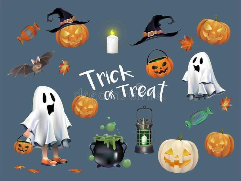 Collection of Halloween concept illustration stock illustration