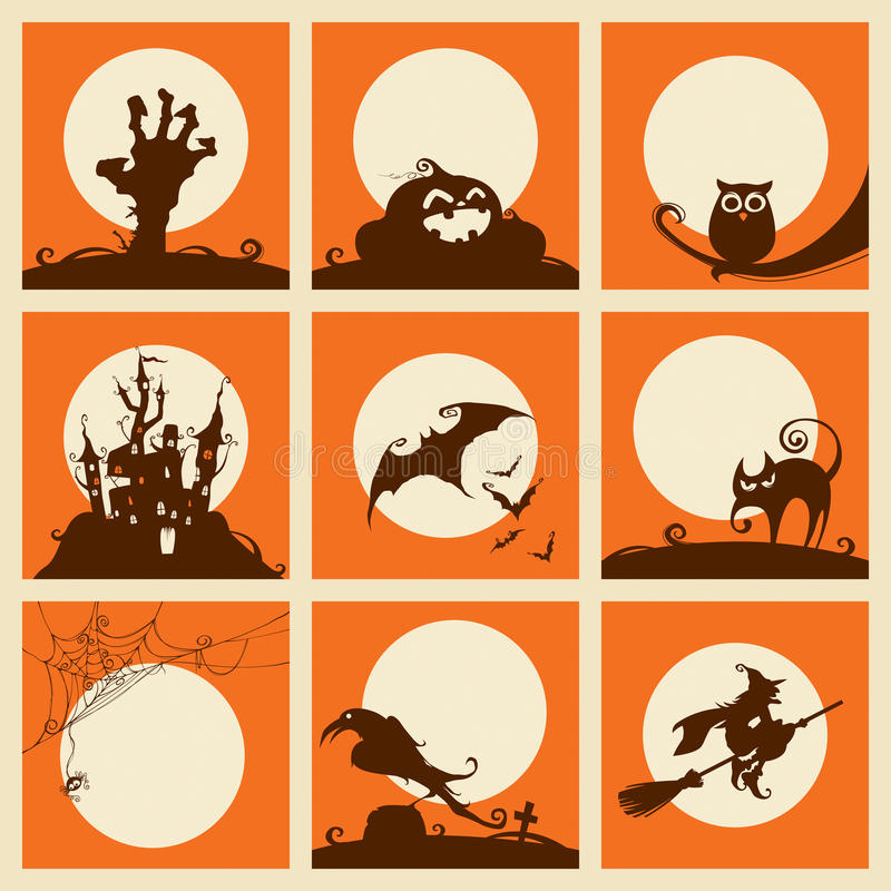 Collection of halloween elements vector illustration