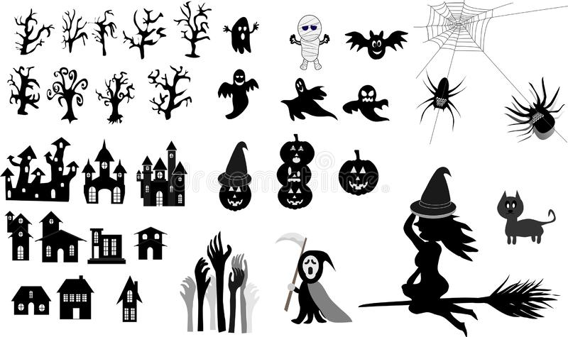 Collection of halloween, icons, black, Vector royalty free illustration
