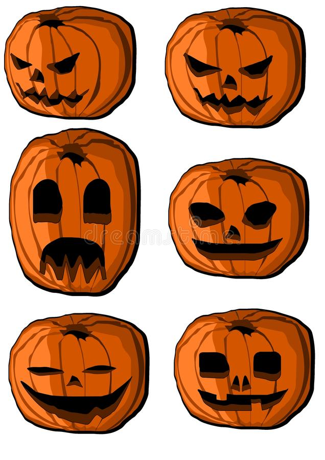 Collection of halloween pumpkin lanterns. (jack-o'-lantern royalty free illustration