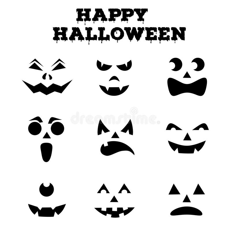 Collection of Halloween pumpkins carved faces silhouettes. Black and white images. Vector illustration royalty free illustration