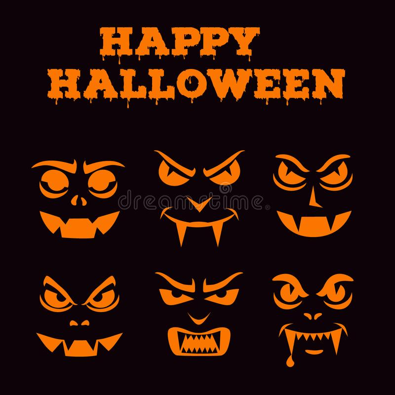 Halloween pumpkins carved faces silhouettes. Template for jack o lantern. Funny vampires stencil set. Monsters icons royalty free illustration