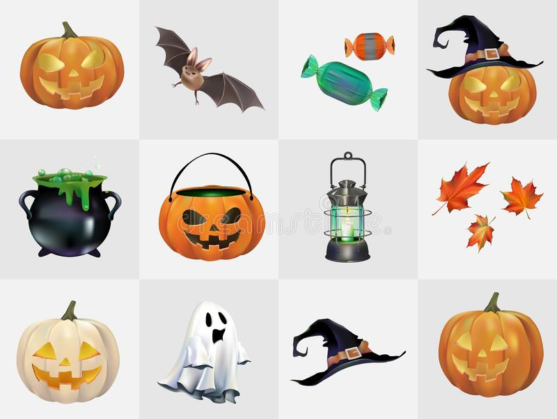 Collection of Halloween symbol vectors vector illustration