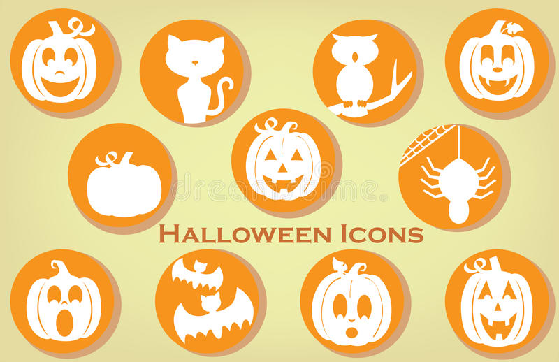 Collection of Halloween Themed Icons in Vintage Colors vector illustration