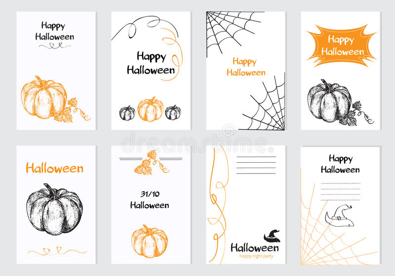 Collection of 8 Halloween vector cards stock illustration