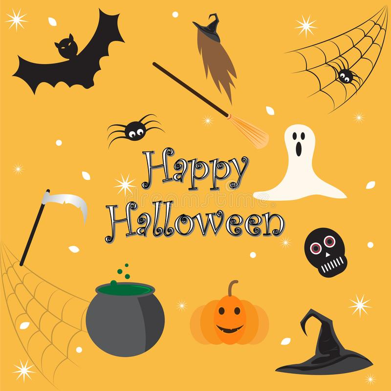 Halloween card vector elements spirit ghost skull bat spider spiderweb witch broom pumpkin hat scythe royalty free stock images