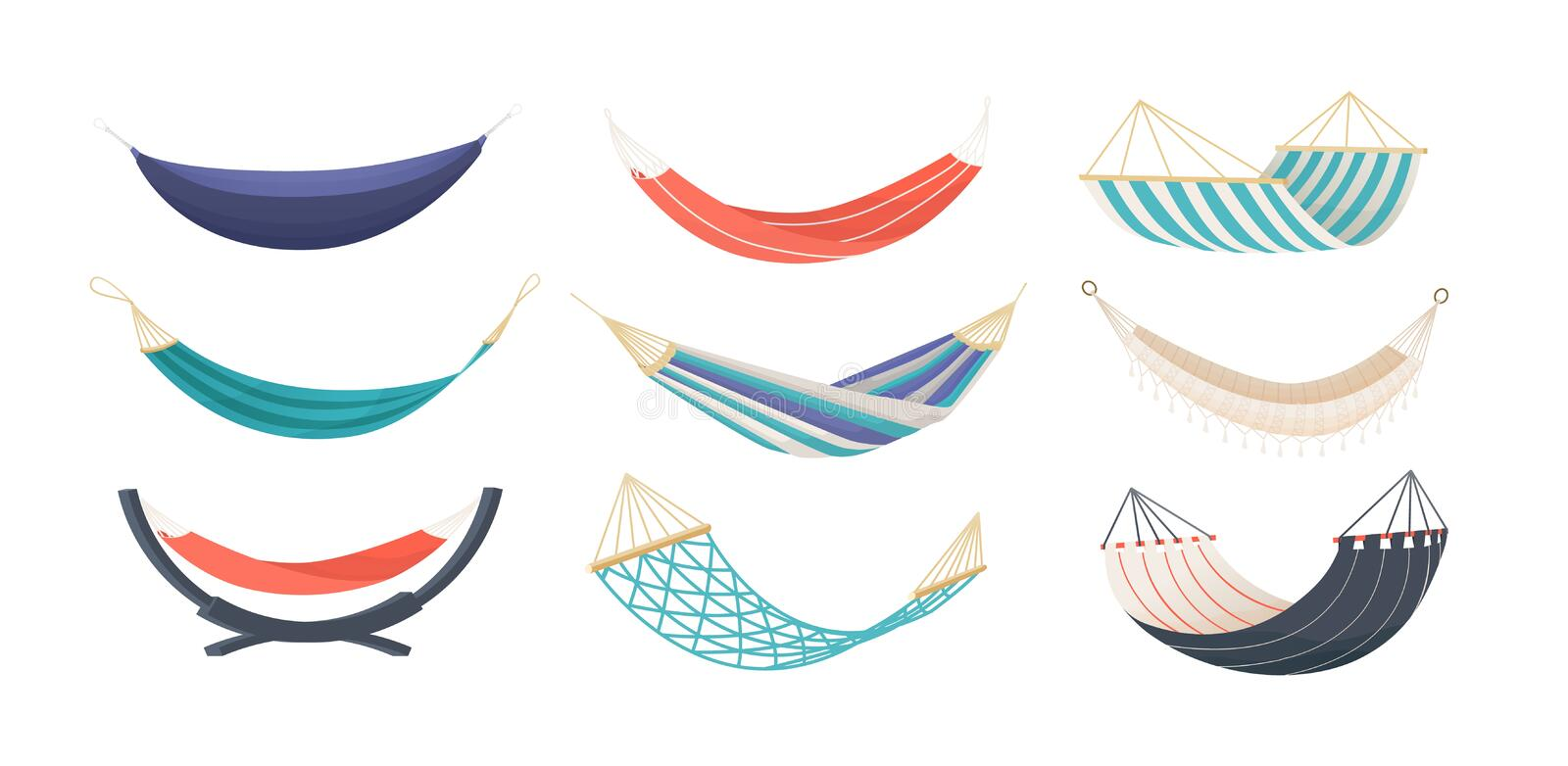 Collection of hammocks of different types isolated on white background. Bundle of tools for summer recreation. Relaxation, swinging, sleeping, resting royalty free illustration