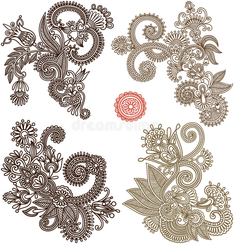 Collection of hand draw line art ornate flower. Design. Ukrainian traditional style vector illustration