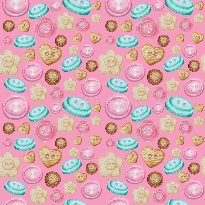 Collection of hand drawn buttons on pink background. Watercolor Seamless pattern Hobby Knitting, Crocheting and Sewing. vector illustration