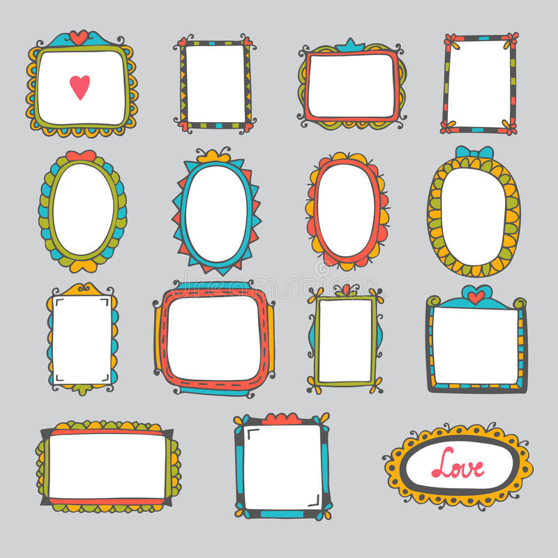 Collection Of Hand Drawn Cartoon Frames. Sketchy Doodle Frames A ...