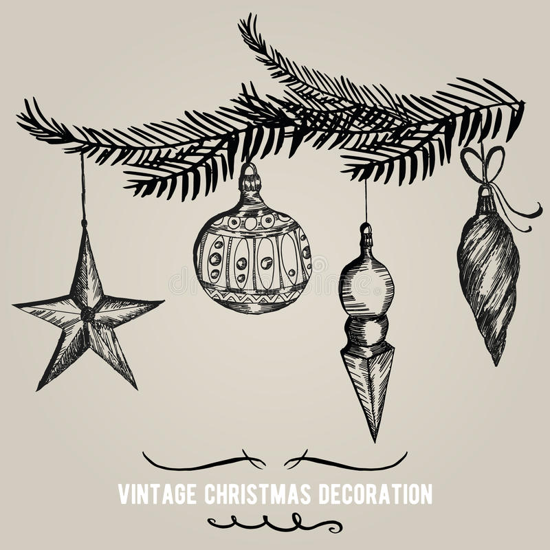 Collection of Hand drawn Christmas decorations. Holiday vector background stock photography