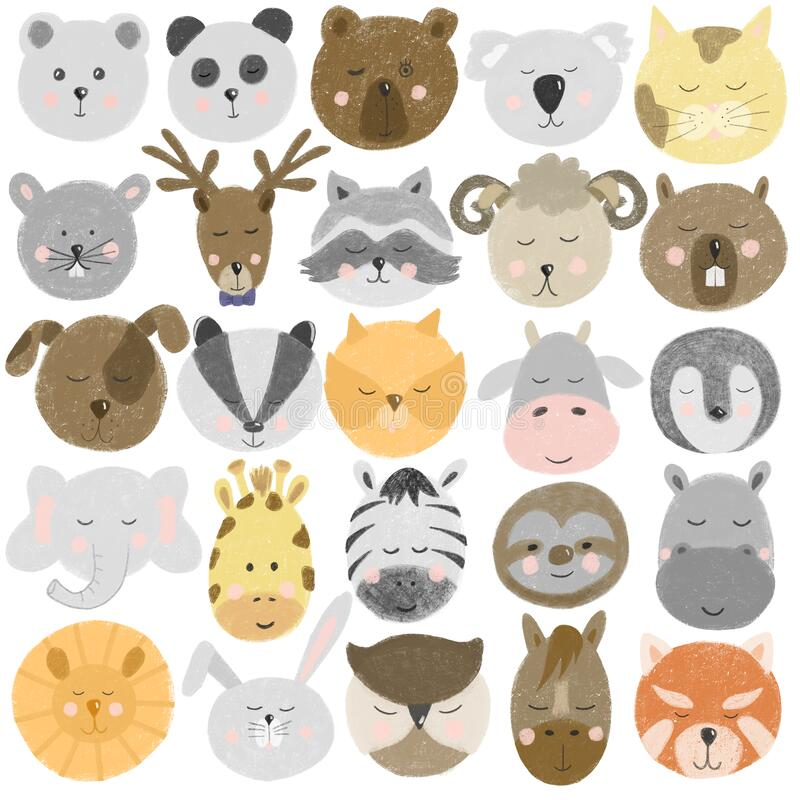 Collection of hand drawn cute animal faces bear,deer, panda, raccoon, zebra, bunny, sloth, horse, cat, dog etc. Hand drawn isolated on a white background stock illustration