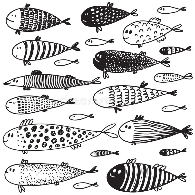 Collection of hand drawn cute fish in sketch style stock illustration