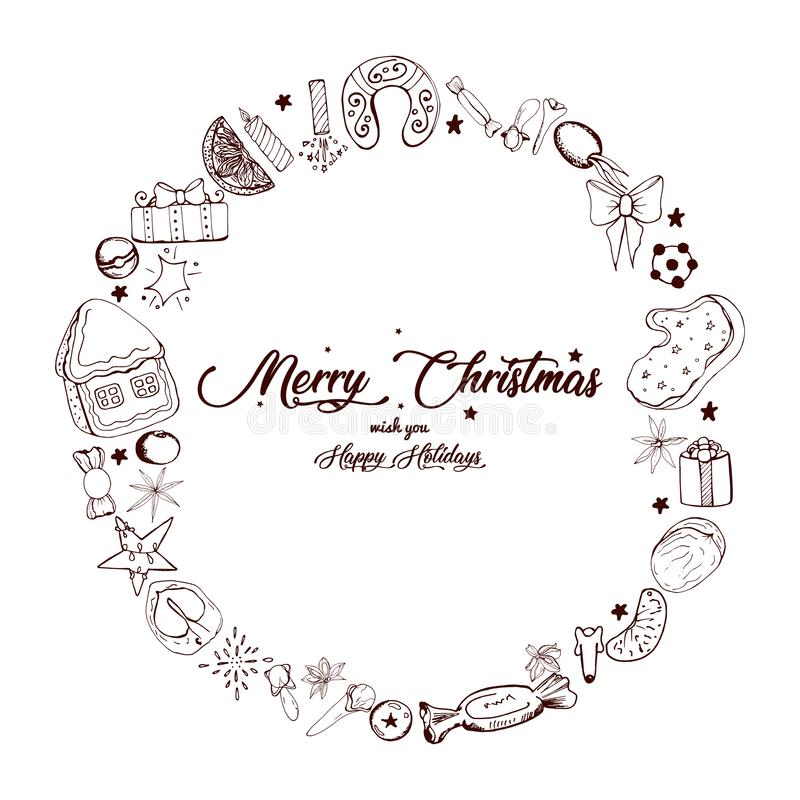 Collection of hand drawn different objects for your Christmas arts vector illustration