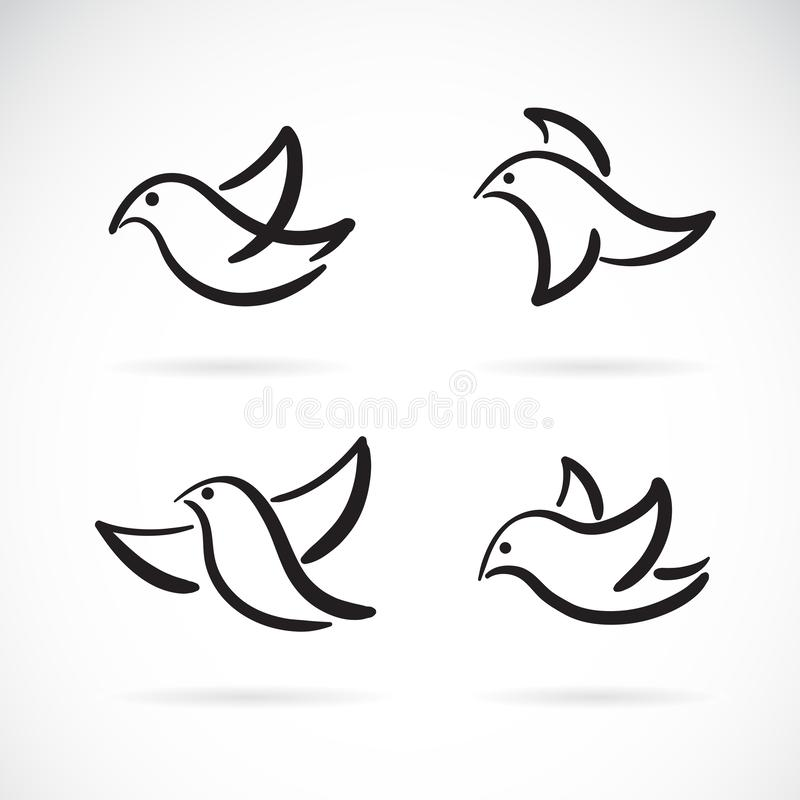 Collection of hand drawn doodle style birds on white background, Bird Icon., Animal., Vector bird for your design royalty free illustration