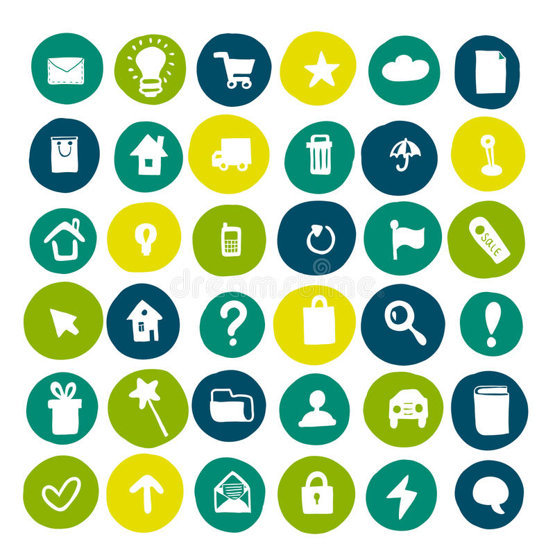 Collection of hand drawn icons on colored circles. stock illustration